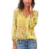 SEEGOU - Blusa para mujer, talla grande, manga larga, cuello