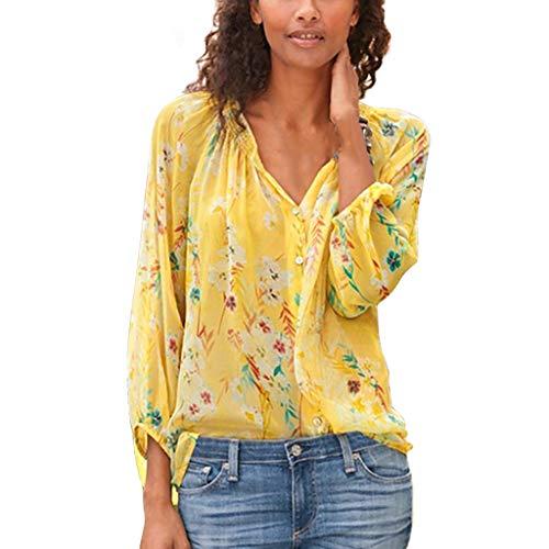 Xmiral Bluse Shirt Damen Blumendruck Langarm Dünn Hemd für Arbeit Geschäft Tops Slim Fit Shirt mit V-Ausschnitt Große Größe(Gelb,M)