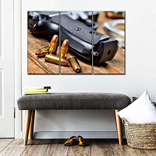 AWER Cuadro en lienzo abstracto moderno impresión de 3 piezas Panel múltiple de munición de 9 mm Hd Lienzo Decorativo para Tu Sala De Estar Dormitorios Decoración para El Hogar