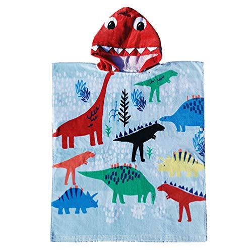 TOPBATHY Toalla de Baño con Capucha para Niños Toalla de Playa de Animales de Dibujos Animados Funda de Poncho Ultra Absorbente de Secado Rápido para Piscina de Verano Playa Nadar 60 Cm (Dinosaurios)