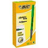 BIC Highlighter Grip Marcadores punta biselada Ajustable - Verde, Caja de 12 unidades