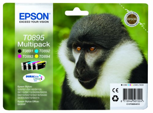 Epson C13T08954010 - Juego de 4 Tinta Epson Multipack válido para EPSON Stylus y EPSON Stylus Office BX300F, Ya disponible en Amazon Dash Replenishment, Normal