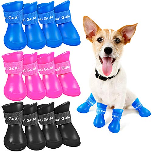 Weewooday 3 Sets of Puppy Dog Rain Boots Candy Color Resin Waterproof Pet Claw Guard Non-Slip Rain Boot (S)