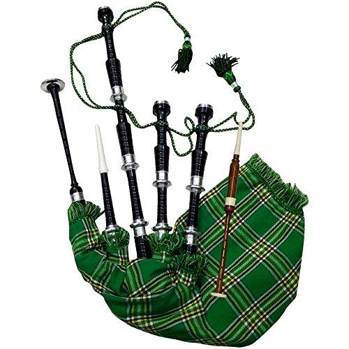AJW Classic Great Highland Bagpipe Irish National Tartan Rosewood Black Finish Silver Mounts with Tutor Book, Carrying Bag