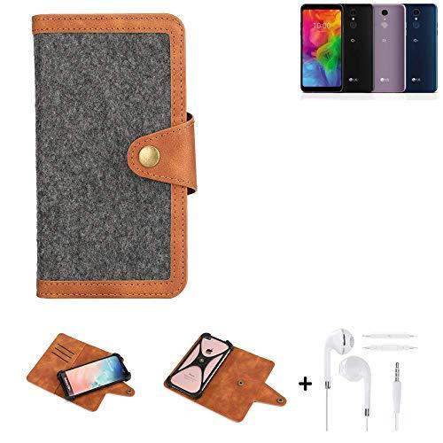 K-S-Trade® Handy-Hülle + Kopfhörer Für LG Electronics Q7 Alfa Schutz-Hülle Filz-Hülle Kunst-Leder Dunkelgrau Braun (1x)