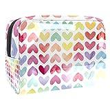 Borsa da trucco portatile con cerniera da viaggio borsa da toilette per le donne pratico sacchetto cosmetico colorato amore amore cuore