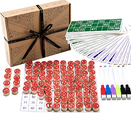 Jaques of London Bingo Games Set - Bingo Cards With Bingo Balls / Counters - Complete with Draw Bag