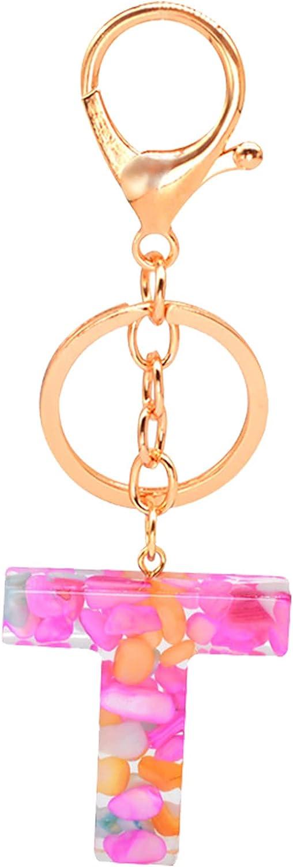 OGBK Samury Creative Letter Color Pendant Keychain Pink-Purple Resin Alphabet Initial Letter Keychain Key Ring Women Shiny Crystal Keyring for Women Girls Handbag Decor Birthday Gifts (T-A)