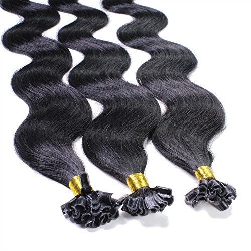 Hair2Heart 25 x 0.5g Extension Capelli Veri Cheratina - 60cm, Colore #1 Nero, ondulato