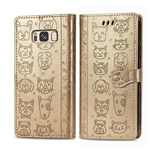 Coque Portefeuille pour Galaxy S8 5.8inch Housse Etui en Flip Case, Magnétique Carte Fentes Stand, Protection Antichoc Cover pour Galaxy S8 - JESD260509 Or