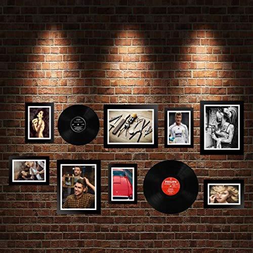Jjek K- fotolijst foto muur 10 stks, creatief met twee zwarte records decoratieve muur woonkamer slaapkamer kamer muur decoratie