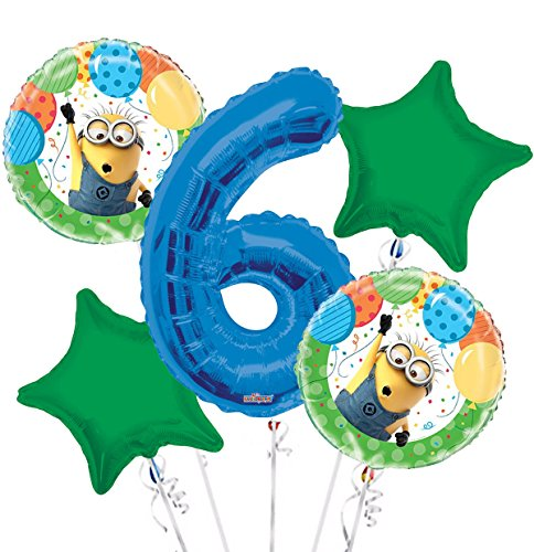 Minions Despicable Me Balloon Bouquet 6th Birthday 5 pcs - Party Supplies