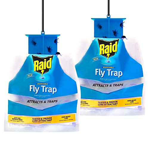 Raid Fly Trap (2-Pack), Outdoor Fly Trap, Disposable Fly Trap Bag, House Fly Trap with Food-Based Attractant, Hanging Fly Bag, 2 Home Fly Trap Bags, Outside Fly Control for Home, Hanging Fly Bait Bags