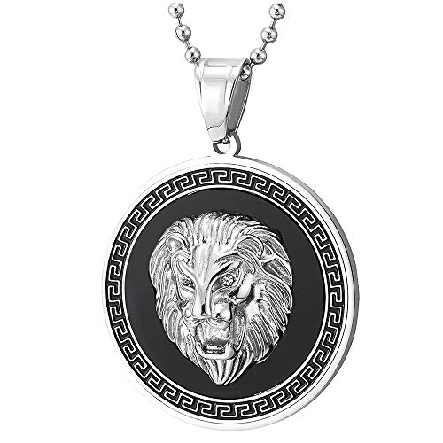 COOLSTEELANDBEYOND Hombre Acero Cabeza de León Collar Colgante con Circonio Cúbico, Ónix Negro, Modelo Dominante Griego, Plata Negro