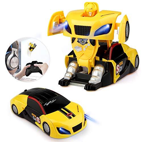 Blasland Macchina Telecomandata Robot, Giocattoli per Bambini Auto Radiocomandata Trasformabile Macchinina sui Muro 360° Rotazione Luci Gadget Compleanno Regali per Ragazzi Ragazze Giochi 3-12 Anni