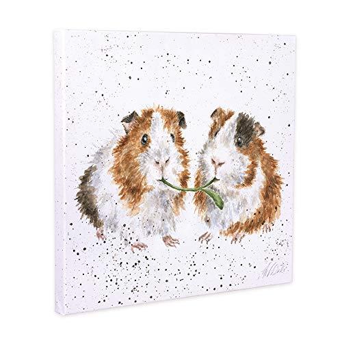 Wrendale Designs Leinwandbild mit Meerschweinchen Salat Be Friends, quadratisch, 20 cm, Weiß