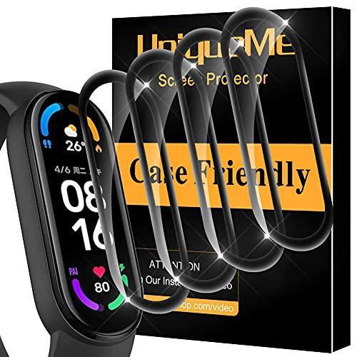 UniqueMe [4 Stück] Schutzfolie Kompatibel mit Xiaomi Mi Smart Band 6 Folie, [Flexible Folie] HD PMMA Klar Bildschirmschutz Bildschirmschutzfolie mit Lebenslanger Ersatzgarantie