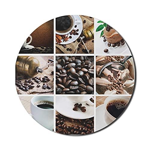 Kaffeemaus-Pad für Computer, Collage aus Kaffee und Produkten Bohnen Wüsten Eis Zimt Heißgetränk, rundes rutschfestes dickes Gummi Modern Gaming Mousepad, 8 'rund, dunkel und hellbraun