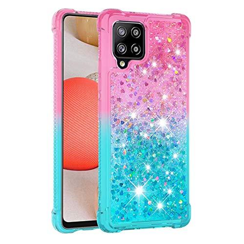 DiDaDi Case for Samsung Galaxy A42 5G Transparent Sparkly Shiny Flowing Liquid Crystal Clear Glitter Bling Silicone TPU Bumper Air Cushion Protection Cover for Samsung Galaxy A42 5G (Pink-Blue)