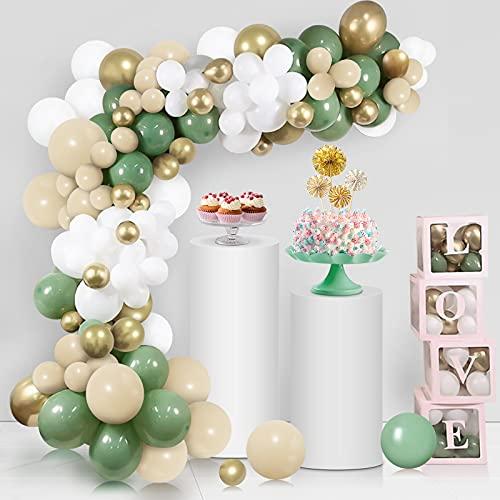 Unisun Retro Olivgrün DIY Ballonbogen Girlande Kit-Macaron Blau, Salbeigrün, Elfenbeinweiß, Metallic Chrom Gold Ballons für Baby Brautparty