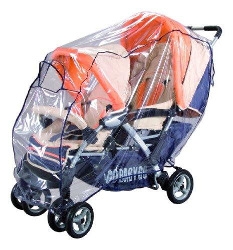 sunnybaby 10096 - Universal Regenverdeck, Regenschutz für TANDEM-Kinderwagen/Geschwisterwagen | Kontaktfenster für optimale Luftzirkulation | glasklar | schadstofffrei | Qualität: MADE in GERMANY