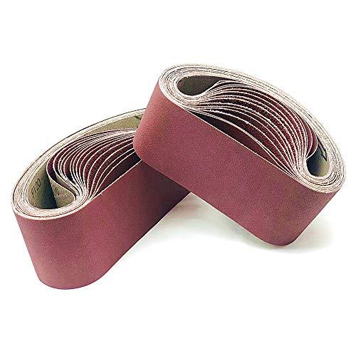 FEIHU Bande abrasive 75x 533 mm.5 sortes de gravier mixte (3X40 /80/120/180/320).Ensemble de Bandes Abrasives,pour ponceuses à bande, métal,bois,polissage (15 pièces)