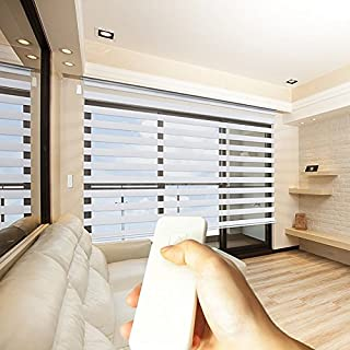 Taiwan Present Godear Design Zebra Design Roller Window Shades, Motorized-Remote, Privacy Horizontal Blinds, 33