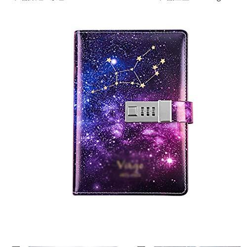 SFF Cuadernos de Oficina Código Estrella Libro gobernado Cuaderno de Cuero Forrado de Colores Memo Profesional Nota de Campo Libro for Escribir en Reutilizable 112 Páginas Cuaderno de Tapa Blanda