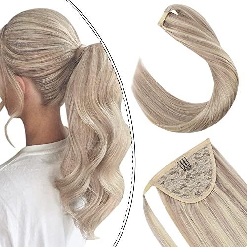 Extensions Pferdeschwanz Echthaar 100% Remy Brasilianer Haarteile Zopf 80GR 20Zoll Haarverlangerung Easy Fit Clip-in Ponytail Wrap Around (Aschblond gemischt Gebleichtes Blond...