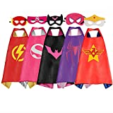 RioRand Dress Up Costumes Cartoon Kids 5 Superhero Capes Set for Costumes Birthday Party Gifts (5pcs for girl)
