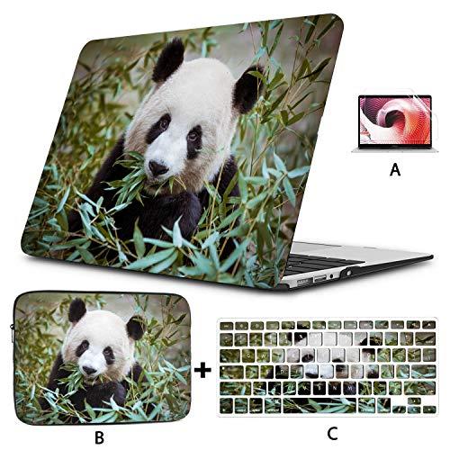 Mac Laptop Cover Cute Panda Eating Bamboo Mac Book Case Hard Shell Mac Air 11'/13' Pro 13'/15'/16' with Notebook Sleeve Bag For Macbook 2008-2020 Version