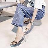 ypyrhh Sandali Comfort per Adulti,Bocca di Pesce,Sabbia,Pantofole. Spessore di Cristallo con Sandali Set di Punta-Bianca_38,Spessa Suola Ciabatte Antiscivolo