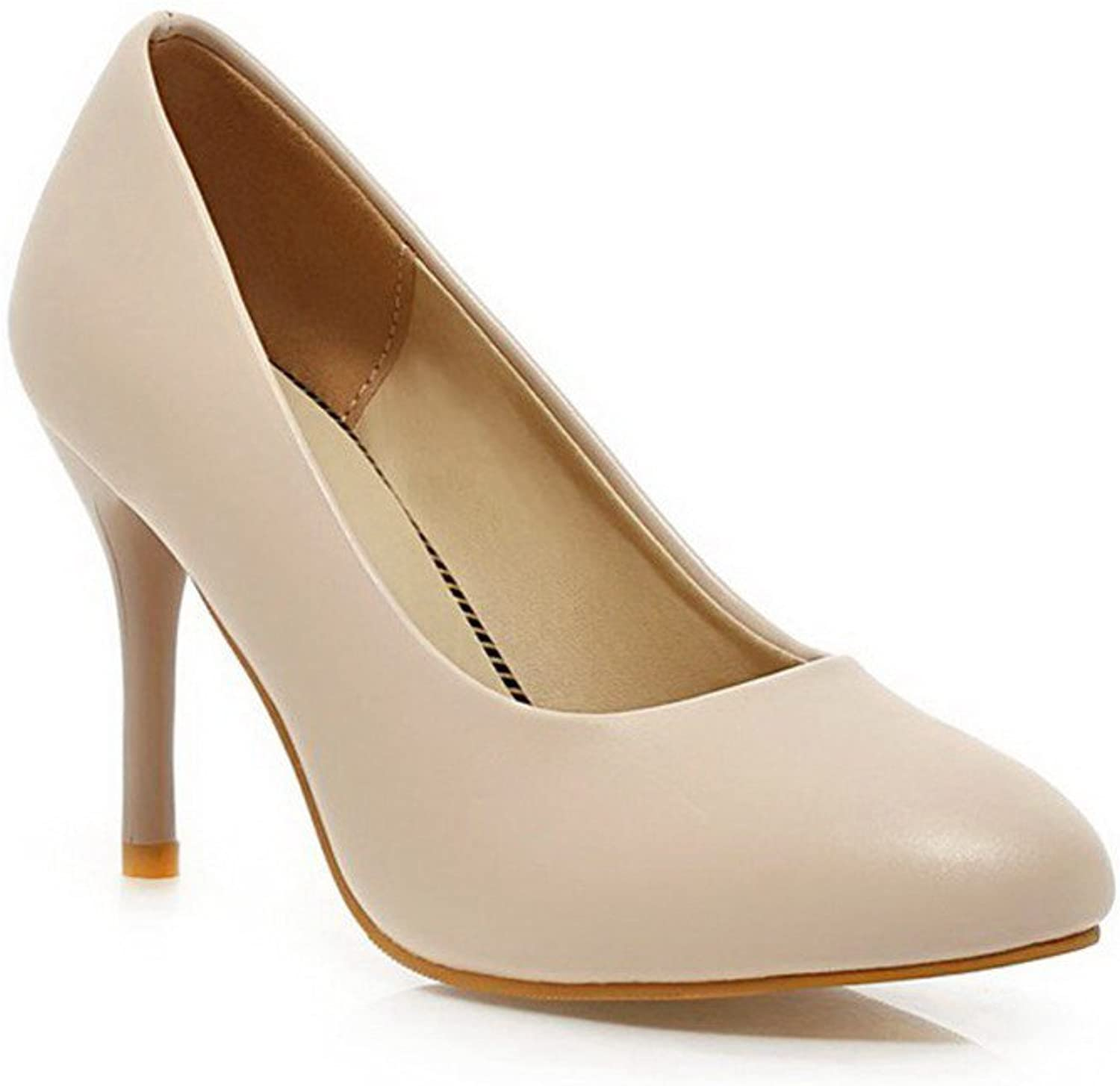 AmoonyFashion Women's High-Heels Soft Material Solid Pull-on Pointed Closed Toe Pumps-shoes