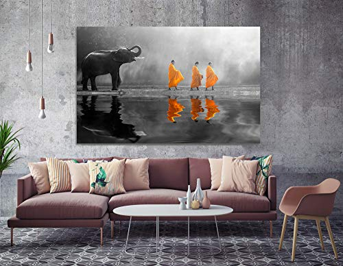 Orlco Art Zen Pictures Paintings Print Wall Decor Thailand Elephant Walk Behind Monks Buddha Zen Wall Art with Frame Picture Canvas Prints for Study or Office Black and White Yellow 24x36inch