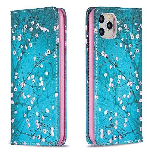 Miagon Brieftasche Hülle für iPhone 11 Pro Max,Kreativ Gemalt Handytasche Case PU Leder Geldbörse mit Kartenfach Wallet Cover Klapphülle,Blau Blume
