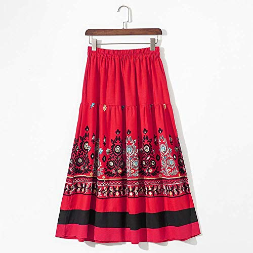 YYH Vrouwen wijnoogst multicolor print boho lang Rock zomer casual los etnic print bohemian strandrok Eén maat rood