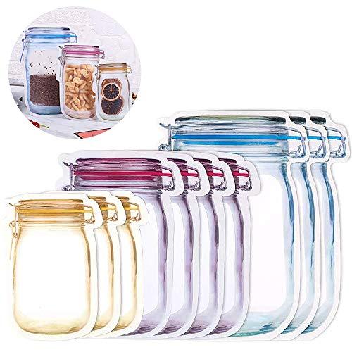 Envases Reutilizables para Alimentos, Bolsas para llevar comida y sándwiches, Bolsas de Alimentos Ecológicas e Impermeables para Frutas, Bolsas Congelar sin BPA (10 Pcs)