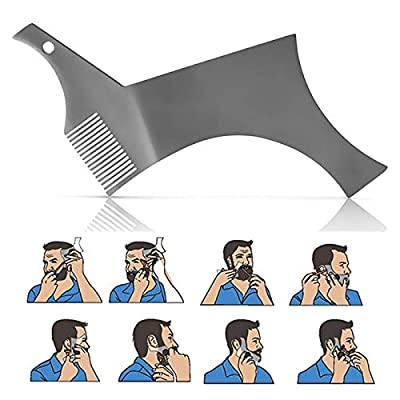 Maygone Stainless Steel Metal Beard Shaper Comb Beard Shaping Tool and Styling Template Tool for Men Beard Moustache Shaping Cutting by Maygone