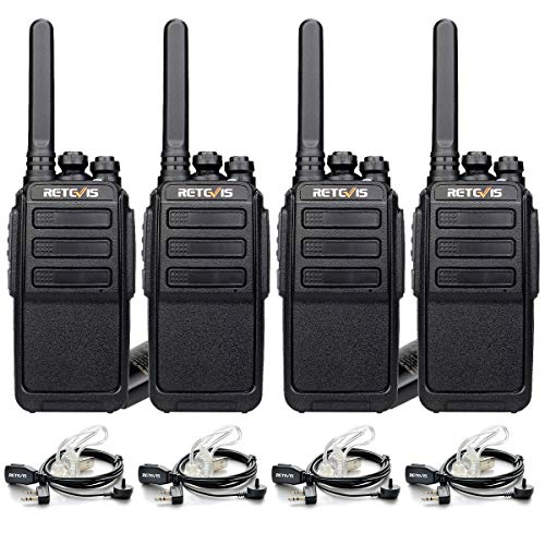 Retevis RT28 Walkie Talkies Long Range,Rechargeable Two Way Radios,Hands Free Emergency Alarm,Portable 2 Way Radio with Earpiece and Mic,Adults Work School Security(4 Pack)