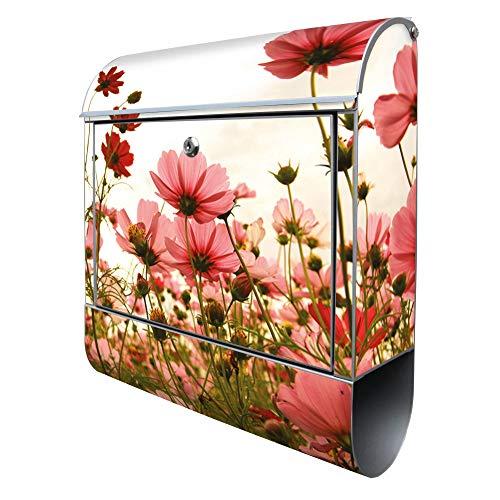 Banjado Design Briefkasten mit Motiv Schmuckkörbchen | Stahl pulverbeschichtet mit Zeitungsrolle | Größe 38x47x14cm, 2 Schlüssel, A4 Einwurf, inkl. Montagematerial