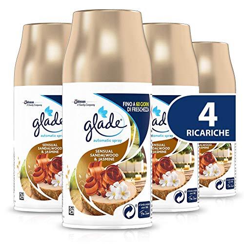 Glade Automatic Spray Recarga, Fragancia Sensual Sandalwood & Jasmine – 1 paquete de 4 recargas – 1076 ml