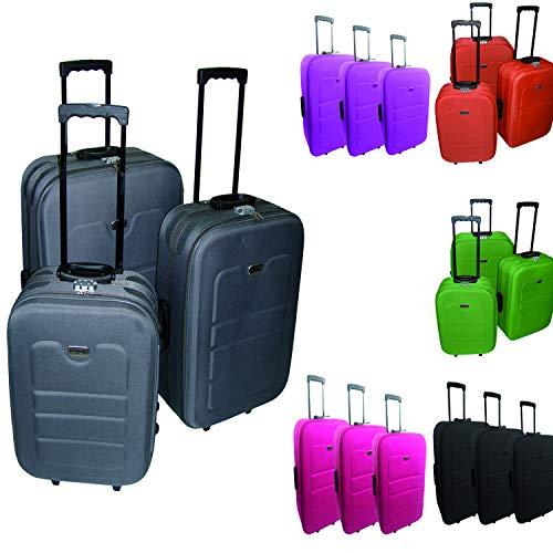 3-TLG Kofferset Reisekofferset Reiseset Trolley Trolly Reise Set Koffer inkl. Kofferwaage in vers. Farben, Farben:Lime