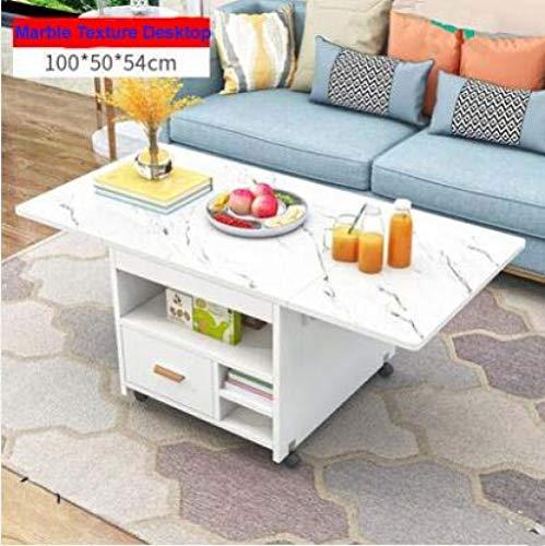 Eettafel LKU Intrekbare mobiele eettafel appartement opvouwbare tafel multifunctionele salontafel met lades, marmer structuur