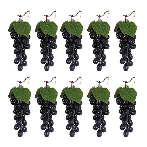 Lowral 10 Piezas Negro púrpura Colgante Uvas Artificiales Accesorios de fotografía decoración Falso árbol de limón