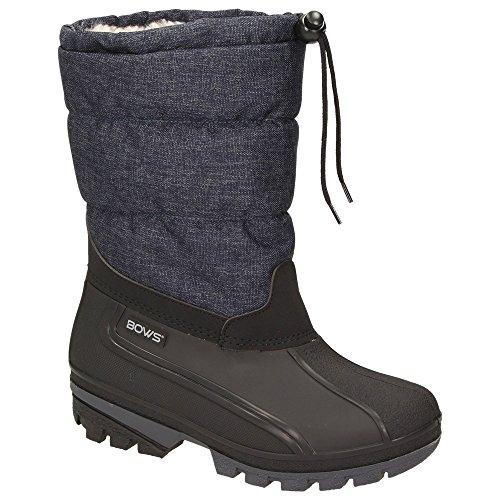 BOWS® -LIV- Damen Mädchen Jungen Winter Stiefel Schnee Schuhe Snow Boots Schlupfstiefel Warmfutter wasserdicht, Schuhgröße:31, Farbe:Jeansblau