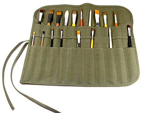 "Flyshine Canvas Artist Brush Holder Rollup Protection (42x36cm) 18""X14"" - Green"