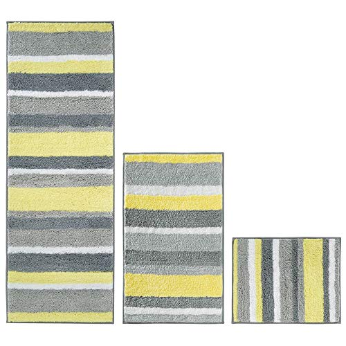 mDesign Striped Microfiber Polyester Spa Rugs for Bathroom Vanity, Tub/Shower - Water Absorbent,...