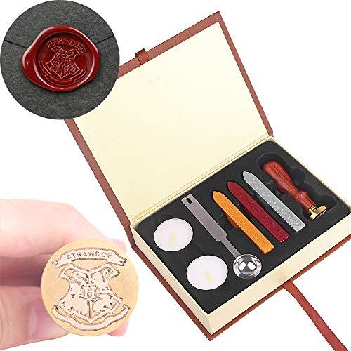 Sello de la cera OurLeeme clásico retro insignia sello Kit de barra de cera cuchara Box Set