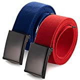 Cinturón de tela de hasta 132 cm con hebilla militar de color negro sólido (16 opciones de color y paquete combinado). 2 Pack rojo/azul