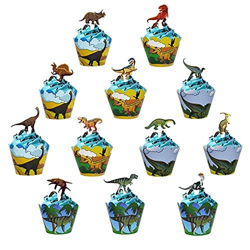 24 Stücke Dinosaurier Kuchen Topper und 24 Dinosaurier Cupcake Topper Wrappers,Cupcake Wrappers Papier,Dinosaurier Cupcake Wrappers,Dinosaurier Kuchen Dekoration für Kinder Party Geburtstag(1)